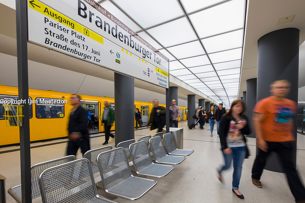 train at platform at Brandenburger Tor<br />  subway station in Berlin Germany