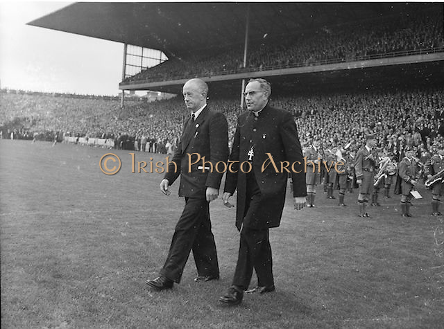 Most reverent Dr Morris, Archbishop of Cashel and Dr J Stuart walking onto the pitch before the All Ireland Senior Gaelic Football Final Kerry v Down in Croke Park on the 22nd September 1960. Down 2-10 Kerry 0-8.