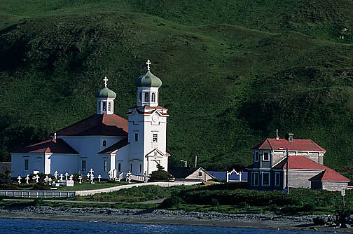 Alaska,  Russian Orthodox Church in Unalaska. Aleutian Islands.