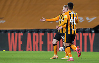 Hull City's Amed Salam congratulates Keane Lewis-Potter after he scored the equaliser<br /> <br /> Photographer Alex Dodd/CameraSport<br /> <br /> EFL Trophy Third Round - Hull City v Fleetwood Town - Tuesday 12th January 2021 - KCOM Stadium - Kingston upon Hull<br />  <br /> World Copyright © 2021 CameraSport. All rights reserved. 43 Linden Ave. Countesthorpe. Leicester. England. LE8 5PG - Tel: +44 (0) 116 277 4147 - admin@camerasport.com - www.camerasport.com