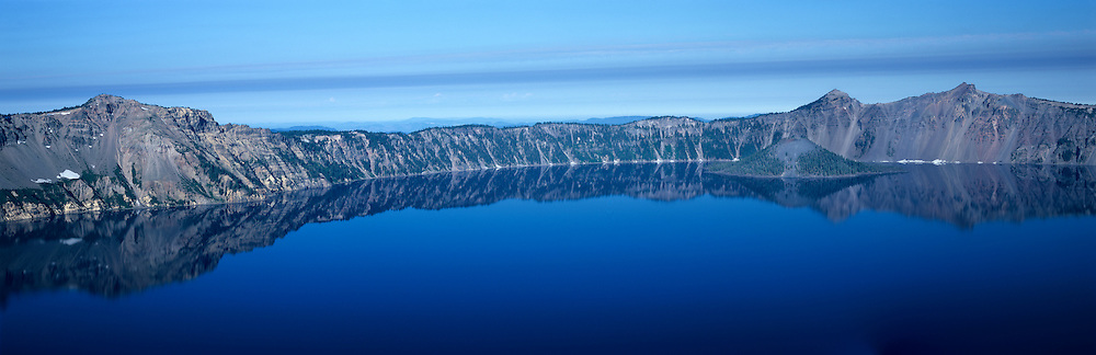 Along the rim of Crater Lake in the Cascade Mountains, Crater Lake National Park, OR.