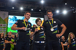 Peter Kauzer, Tina Trstenjak and Vasilij Zbogar during reception of Slovenian Olympic Team at BTC City when they came back from Rio de Janeiro after Summer Olympic games 2016, on August 26, 2016 in Ljubljana, Slovenia. Photo by Matic Klansek Velej / Sportida
