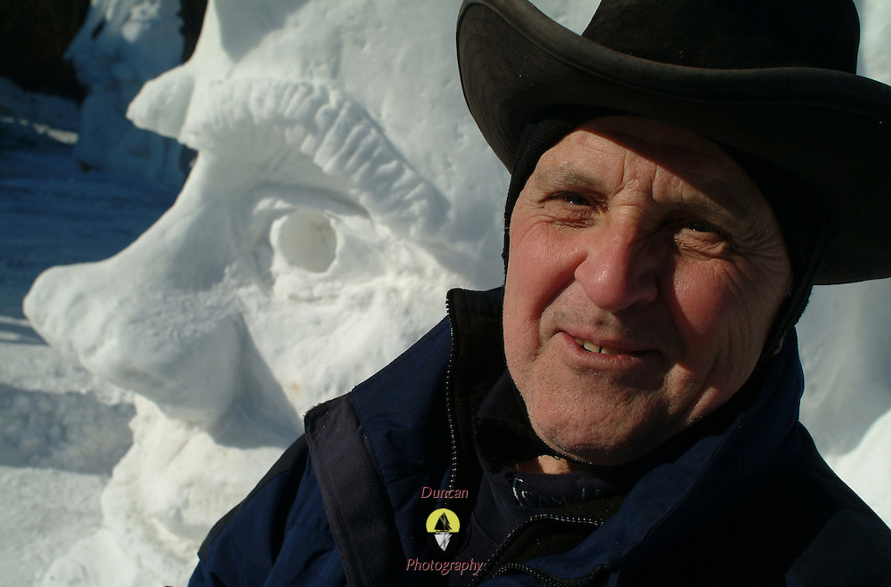 "Snow Sculptor and Ice Carver Steve Rodman of New York came to Falmouth, Maine's Winterfest this weekend for the competition. ""It did come out looking sort of like me I guess,"" he said with a laugh.  Photo by Roger S. Duncan."