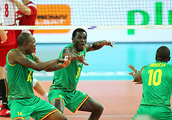 06.09.2014, Jahrhunderthalle, Breslau, POL, FIVB WM, Kamerun vs Polen, Gruppe A, im Bild (L) NATHAN WOUNEMBAINA, SEM DOLEGOMBAI RADOSC // during the FIVB Volleyball Men's World Championships Pool A Match beween Cameroon and Poland at the Jahrhunderthalle in Breslau, Poland on 2014/09/06.<br /> <br /> ***NETHERLANDS ONLY***