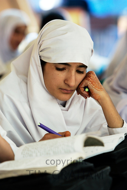 Student of all-female Gundi Pira Secondary School in earthquake area of Pattika, Pakistan