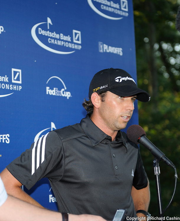 01 Sep 2008:  Sergio Garcia at an interview after his final round of the Deutsche Bank Championship  at the TPC Boston in Norton, MA.