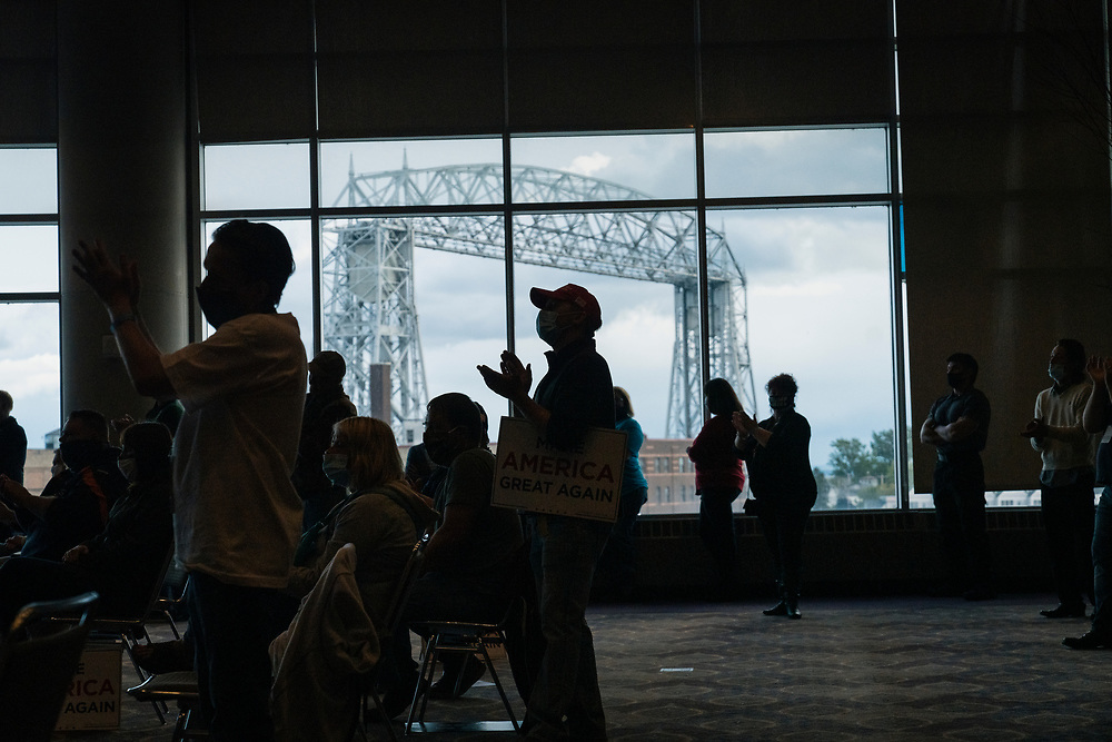 """DULUTH, MN – SEPTEMBER 9: Supporters applaud during Donald Trump, Jr.'s """"Make America Great Again"""" rally in Duluth, Minnesota on Wednesday, Sept. 9, 2020."""