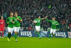 05.11.2011, Weser Stadion, Bremen, GER, 1.FBL, Werder Bremen vs 1.FC Köln, im Bild Claudio Pizarro (Bremen #24) nach dem 2:2 mit Aaron Hunt (Bremen #14) // during the match GER, 1.FBL, Werder Bremen vs 1.FC Koeln on 2011/11/05, 12. matchday, Weser Stadion, Bremen, Germany. EXPA Pictures © 2011, PhotoCredit: EXPA/ nph/  Gumz       ****** out of GER / CRO  / BEL ******