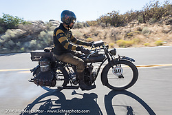 Shinya Kimura riding his Team-80 1915 Indian twin during the Motorcycle Cannonball Race of the Century. Stage-15 ride from Palm Desert, CA to Carlsbad, CA. USA. Sunday September 25, 2016. Photography ©2016 Michael Lichter.