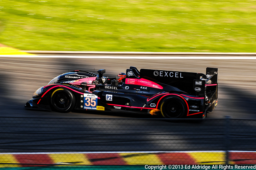 Spa-Francorchamps, Belgium - MAY 4, 2013: Bertrand Baguette, Martin Plowman and Ricardo Gonzalez driving the OAK Racing Morgan LMP2 during the FIA World Endurance Championship 6 Hours of Spa-Francorchamps.