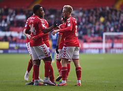 Charlton Athletic's Ben Reeves celebrates scoring their third goal with team mate Tariqe Fosu (left)