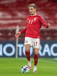 Jens Stryger Larsen (Danmark) under kampen i Nations League mellem Danmark og Island den 15. november 2020 i Parken, København (Foto: Claus Birch).