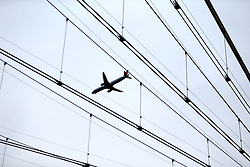 A general view of a plane flying over the stadium ahead of the UEFA Europa League Semi final, first leg match at The Frankfurt Stadion, Frankfurt.