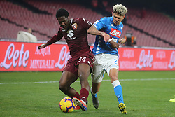 February 17, 2019 - Napoli, Italy, Italy - Italian Serie A football match SSC Napoli - Torino FC at the San Paolo stadium in photo Kevin Malcuit midfielder of ssc napoli and Ola Aina contend the ball score final of the match is 0-0. (Credit Image: © Antonio Balasco/Pacific Press via ZUMA Wire)