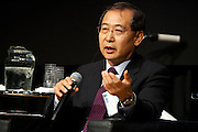"""Dr. Hikyu Lee PhD, CEO, Olev Technologies (Boston/Cambridge), on the panel """"Where Are You Joe Schumpeter? A Discussion on Electric Vehicles."""" Manhattan Chamber of Commerce's Transportation Transformation Global Summit at NYIT in New York on April 26, 2012."""