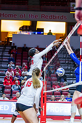 BLOOMINGTON, IL - November 22: Emmy Ogogor during a college Women's volleyball match between the ISU Redbirds and the Sycamores of Indiana State on November 22 2019 at Illinois State University in Normal, IL. (Photo by Alan Look)