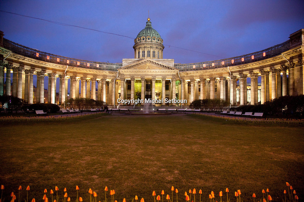 Russia, St Petersburg, Kazan Cathedral consisting of ninety-six Corinthian columns, arranged in four rows, which form an extended arc facing Nevskiy Prospekt. .///.la cathedrale de Kazan sur la perspective Newski. saint Petersbourg . Russia