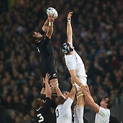Sam Whitelock, New Zealand, wins a line out from Julien Bonnaire, France, during the New Zealand V France, Pool A match during the IRB Rugby World Cup tournament. Eden Park, Auckland, New Zealand, 24th September 2011. Photo Tim Clayton...