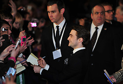 © Licensed to London News Pictures. 24/01/2012. London, England. Daniel Radcliffe attends the world premiere of The Woman in Black , Hammer Films new horror movie at The Royal Festival hall  London  Photo credit : ALAN ROXBOROUGH/LNP