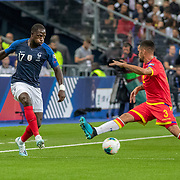 PARIS, FRANCE - September 10:  Moussa Sissoko #17 of France defended by Marc Vales #3 of Andorra during the France V Andorra, UEFA European Championship 2020 Qualifying match at Stade de France on September 10th 2019 in Paris, France (Photo by Tim Clayton/Corbis via Getty Images)