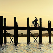 WOman atU Bein bridge by sunset