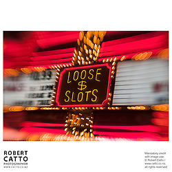 Neon sign reading 'Loose Slots' at Fremont Street, Las Vegas, Nevada, USA.<br />