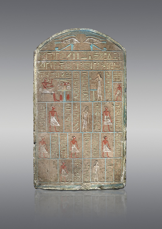 Ancient Egyptian stele of commander in chief Senebetysy, sandstone, Middle Kingdom, 13th Dynasty, (11759-1700 BC), Deir el-Medina, Old Fund cat 1629. Egyptian Museum, Turin. Grey background<br /> <br /> Stet for the commander in chief of the city regiment of Sarenenutrt, son of Sainyt and his wife Senebtysy. .<br /> <br /> If you prefer to buy from our ALAMY PHOTO LIBRARY  Collection visit : https://www.alamy.com/portfolio/paul-williams-funkystock/ancient-egyptian-art-artefacts.html  . Type -   Turin   - into the LOWER SEARCH WITHIN GALLERY box. Refine search by adding background colour, subject etc<br /> <br /> Visit our ANCIENT WORLD PHOTO COLLECTIONS for more photos to download or buy as wall art prints https://funkystock.photoshelter.com/gallery-collection/Ancient-World-Art-Antiquities-Historic-Sites-Pictures-Images-of/C00006u26yqSkDOM