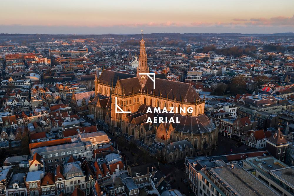 Aerial view of St. Bavokerk during sunrise in Haarlem, Noord-Holland, Netherlands.