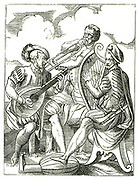 German musicians playing lute, left, Clarsach (Celtic harp) and horn. Woodcut by Jost Amman (1535-1591).