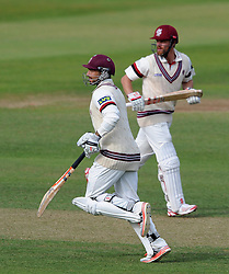 Somerset's Peter Trego and James Hildreth who put have on over 100 together. - Photo mandatory by-line: Harry Trump/JMP - Mobile: 07966 386802 - 06/07/15 - SPORT - CRICKET - LVCC - County Championship Division One - Somerset v Sussex- Day Two - The County Ground, Taunton, England.