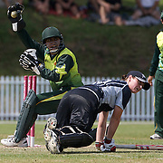Katey Martin is run out as Wicket keeper Armaan Khan removes the bails during the match between New Zealand and Pakistan in the Super 6 stage of the ICC Women's World Cup Cricket tournament at Drummoyne Oval, Sydney, Australia on March 19, 2009 New Zealand made 373 for 7. Photo Tim Clayton