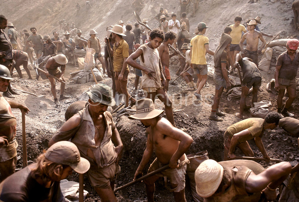Serra Pelada  gold mine. Where thousands of workers are seen prospecting for gold in an open pit mine which became synonymous with Brazil's gold rush fever in the 1980's and 1990's
