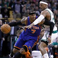 04 March 2012: Boston Celtics small forward Paul Pierce (34) defends on New York Knicks small forward Carmelo Anthony (7) during the Boston Celtics 115-111 (OT) victory over the New York Knicks at the TD Garden, Boston, Massachusetts, USA.