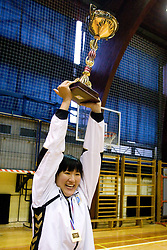 Ljudmila Bodnjeva lifting trophy at last 10th Round handball match of Slovenian Women National Championships between RK Krim Mercator and RK Olimpija, on May 15, 2010, in Galjevica, Ljubljana, Slovenia. Olimpija defeated Krim 39-36, but Krim became Slovenian National Champion. (Photo by Vid Ponikvar / Sportida)