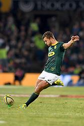 Bloemfontein - 16 June 2018 - Springbok Handre Pollard about to kick a successful conversion.