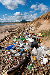 Rubbish on beach in Largo Bay at Dumbarnie in Fife , Scotland, UK