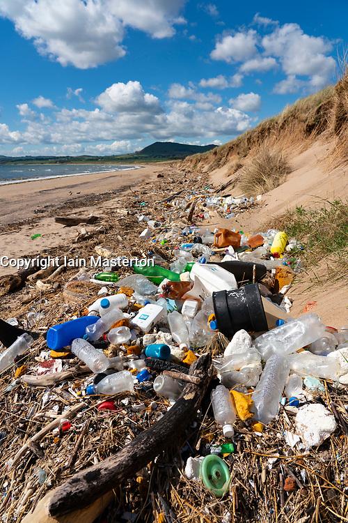 Rubbish on beach in Largo Bay at Dumbarnie in Fife , Scotland, UK