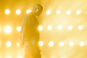 Kanye West performing at the iHeartRadio Music Festival in Las Vegas on September 19, 2015.