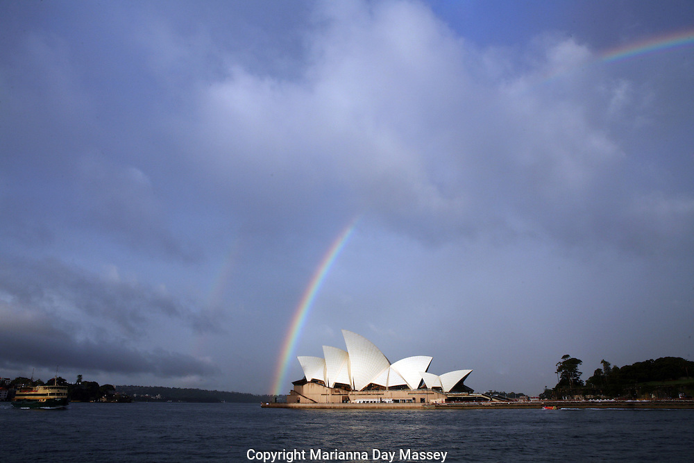 Apr 30, 2009 - Sydney, Australia - Atmosphere of Sydney harbor with a rainbow after some afternoon showers during Day 4 of Rosemount Australian Fashion Week in Sydney..(Credit Image: © Hannah Mason/Corbis)