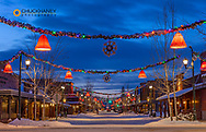 Winter morning along Central Avenue in downtown Whitefish, Montana, USA