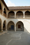 Cyprus, Omodos, Limassol district, Timiou Stavrou Monastery, the Monastery of the holy cross, the court yard
