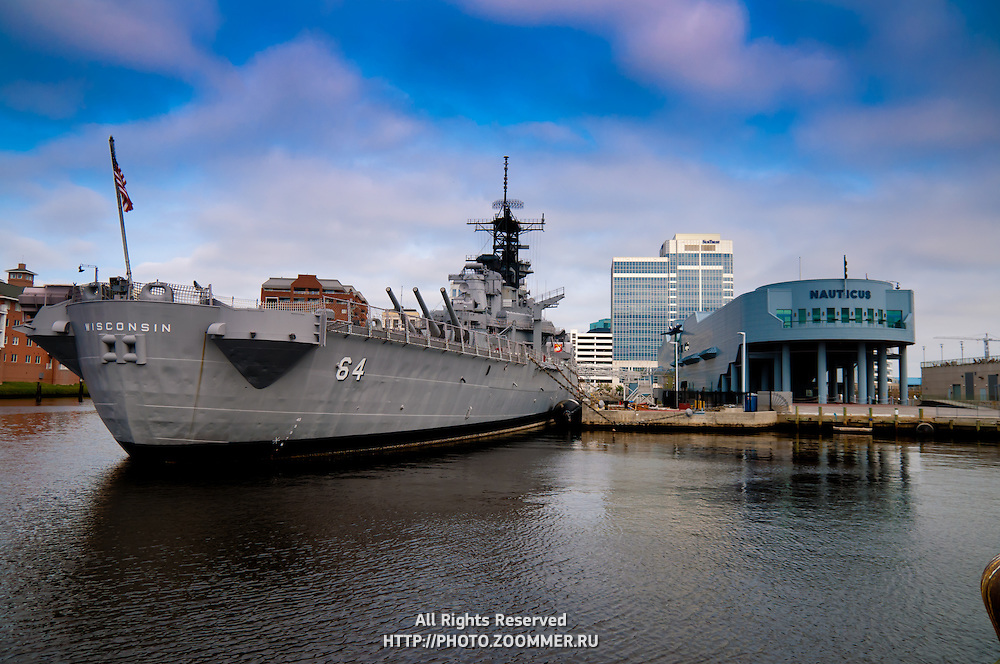Battleship Wisconsin in Norfolk naval shipyard