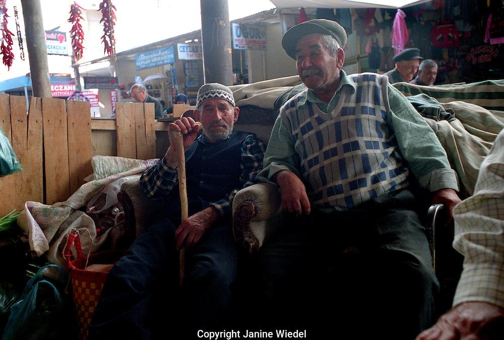 Relaxing in the weekly bazaar in Mulga South Western Turkey.