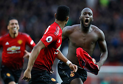 Manchester United's Romelu Lukaku celebrates scoring his side's third goal of the game during the Premier League match at Old Trafford, Manchester.