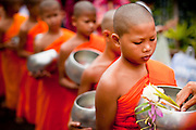 "15 JULY 2011 - PHRA PHUTTHABAT, SARABURI, THAILAND:   Novice monks are presented with flowers and candles during the Tak Bat Dok Mai at Wat Phra Phutthabat in Saraburi province of Thailand, Friday, July 15. Wat Phra Phutthabat is Phra Phutthabat, Saraburi, Thailand, is famous for the way it marks the beginning of Vassa, the three-month annual retreat observed by Theravada monks and nuns. The temple is highly revered in Thailand because it houses a footstep of the Buddha. On the first day of Vassa (or Buddhist Lent) people come to the temple to ""make merit"" and present the monks there with dancing lady ginger flowers, which only bloom in the weeks leading up Vassa. They also present monks with candles and wash their feet. During Vassa, monks and nuns remain inside monasteries and temple grounds, devoting their time to intensive meditation and study. Laypeople support the monastic sangha by bringing food, candles and other offerings to temples. Laypeople also often observe Vassa by giving up something, such as smoking or eating meat. For this reason, westerners sometimes call Vassa the ""Buddhist Lent."" The tradition of Vassa began during the life of the Buddha. Most of the time, the first Buddhist monks who followed the Buddha did not stay in one place, but walked from village to village to teach. They begged for their food and often slept outdoors, sheltered only by trees. But during India's summer rainy season living as homeless ascetics became difficult. So, groups of monks would find a place to stay together until the rain stopped, forming a temporary community. Wealthy laypeople sometimes sheltered monks on their estates. Eventually a few of these patrons built permanent houses for monks, which amounted to an early form of monastery.    PHOTO BY JACK KURTZ"
