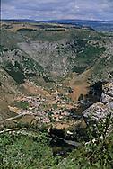 saint enimie village , Cevennes. landscape  Causse Mejean, and Tarn canyon    France