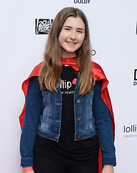 2nd Annual Lollipop Superhero Walk Benefiting Lollipop Theater Network. 29 Apr 2018 Pictured: Hadley Belle Miller. Photo credit: MEGA TheMegaAgency.com +1 888 505 6342