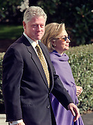 President Bill Clinton and wife Hillary depart the White House for a visit to St. Louis January 26, 1999. President Clinton is scheduled to meet with Pope John Paul II in St. Louis.