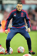 Ryan Giggs, the Manchester United Coach during pre match warm up. The Emirates FA cup, 6th round replay match, West Ham Utd v Manchester Utd at the Boleyn Ground, Upton Park  in London on Wednesday 13th April 2016.<br /> pic by John Patrick Fletcher, Andrew Orchard sports photography.