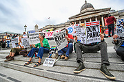 The environmental activist group Extinction Rebellion (XR) gathered in Trafalgar Square, central London on Monday, Aug 23, 2021 - as it launched a two-week protest campaign to demand that the government take greater action to address climate change. (VX Photo/ Vudi Xhymshiti)